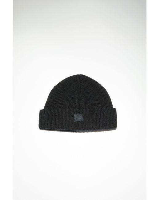 Acne Fa-ux-hats000064 Black Rib Knit Beanie