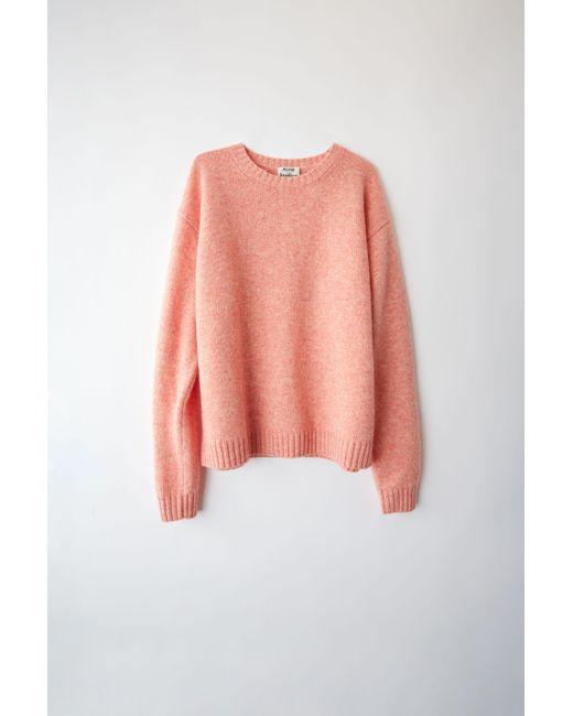 Acne - Samara Wool Peach Orange Basic Sweater - Lyst
