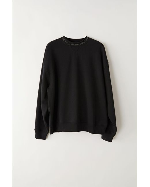 Men's Black Flogho Crew Neck Cotton Sweatshirt by Acne Studios