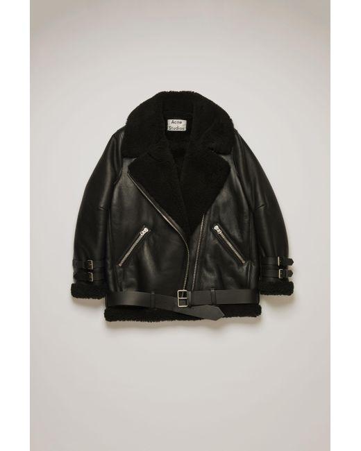 Acne Velocite Black / Black Shearling Aviator Jacket