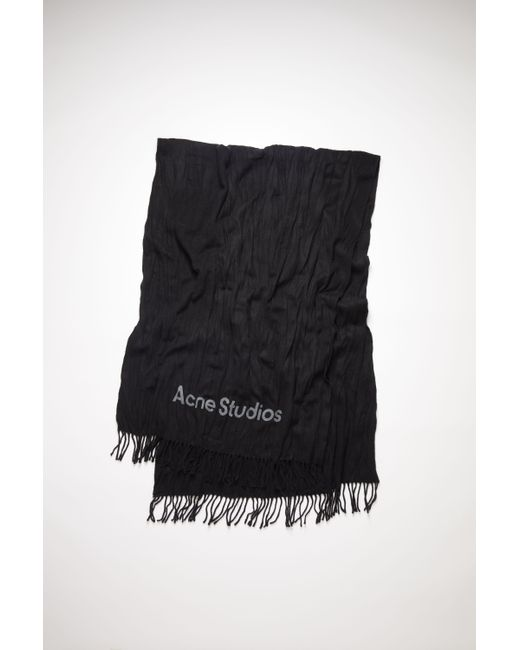 Acne Crinkled Wool Scarf black