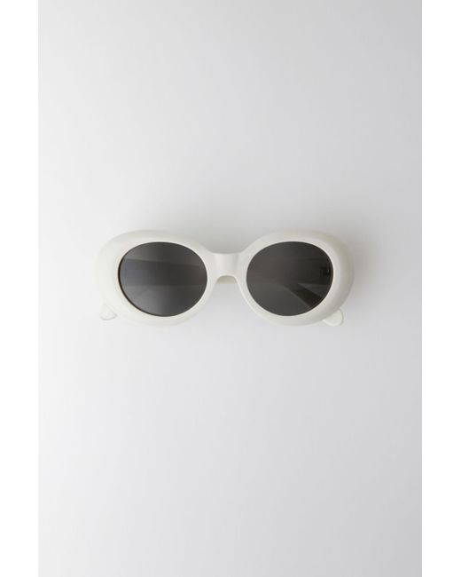Acne Mustang Off White/black Oval Acetate Sunglasses