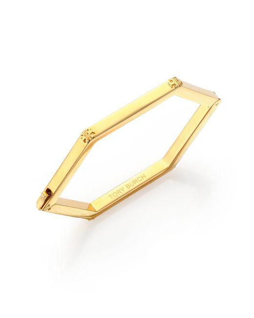 Tory Burch | Metallic Hexagon Logo Bracelet | Lyst