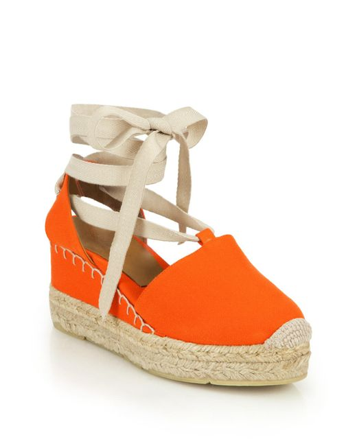 Pink Pony | Orange Uma Canvas Espadrille Wedge Sandals | Lyst