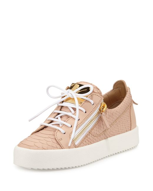 giuseppe zanotti may snake embossed lace up sneaker in