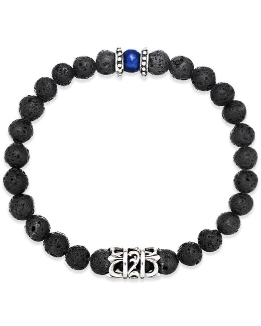 Macy's | Black Men's Onyx Lava Bead Bracelet In Stainless Steel for Men | Lyst