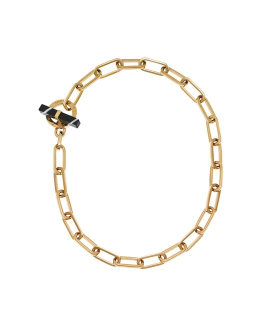 Michael Kors | Metallic Gold-tone Black Agate Toggle Chain Necklace | Lyst