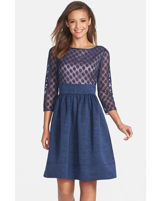 Eliza J | Blue Dot Mesh Bodice Fit & Flare Dress | Lyst