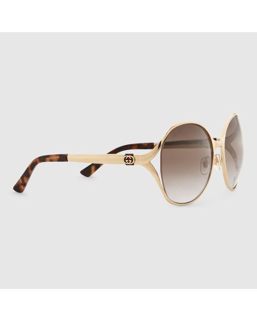 Gucci Round-frame Metal Sunglasses in Metallic Lyst