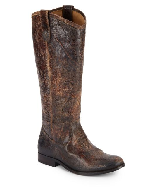 frye distressed leather boots in brown