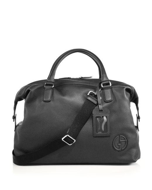 Giorgio Armani   Black Leather Holdall for Men   Lyst
