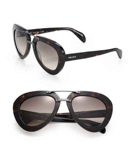 Prada   Black 52mm Pilot Sunglasses   Lyst
