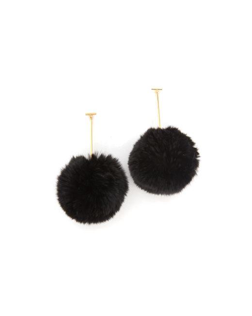 Tuleste | Pom Pom Long T Drop Earrings - Black/gold | Lyst