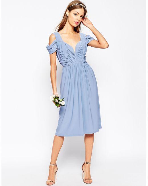 Asos wedding drape cold shoulder midi dress in blue for Cold shoulder dresses for wedding
