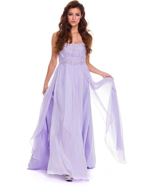 Nox Anabel Purple Embellished Semi-sweetheart A-line Dress