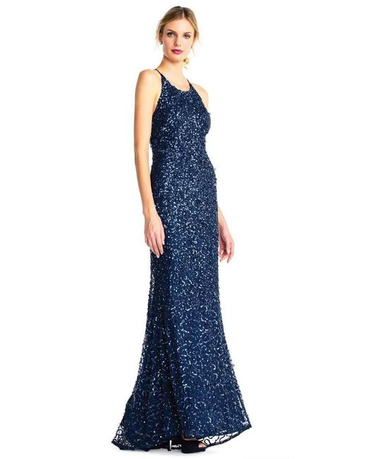 Adrianna Papell Blue Ap1e202438 Crossed String Back Sequined Halter Gown