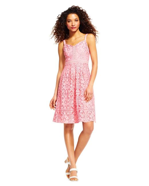 Adrianna Papell Pink Lace V-neck A-line Cocktail Dress