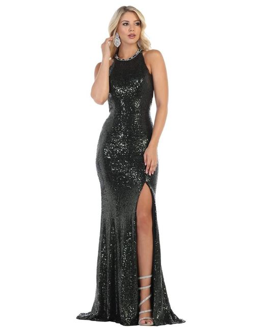 May Queen Green Sequined High Slit Gown Rq7656