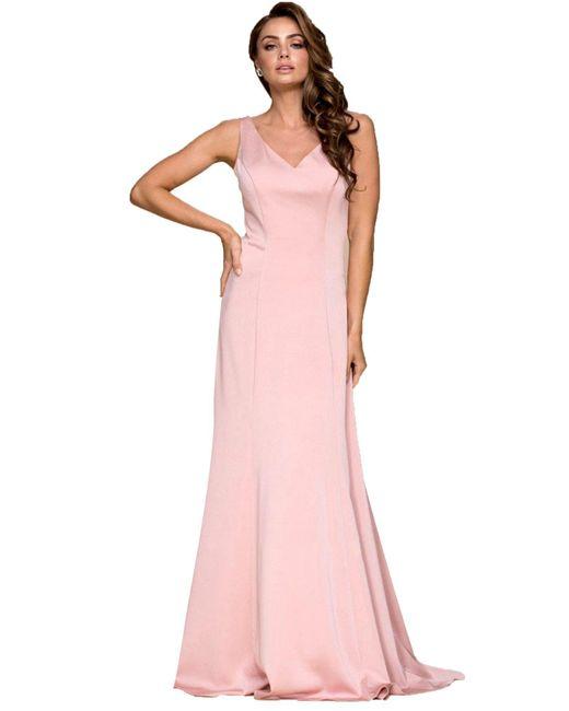 Nox Anabel Pink Sleeveless V-neck Long A-line Dress