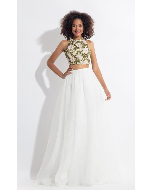 Rachel Allan White Floral Embroidered Two Piece Gown