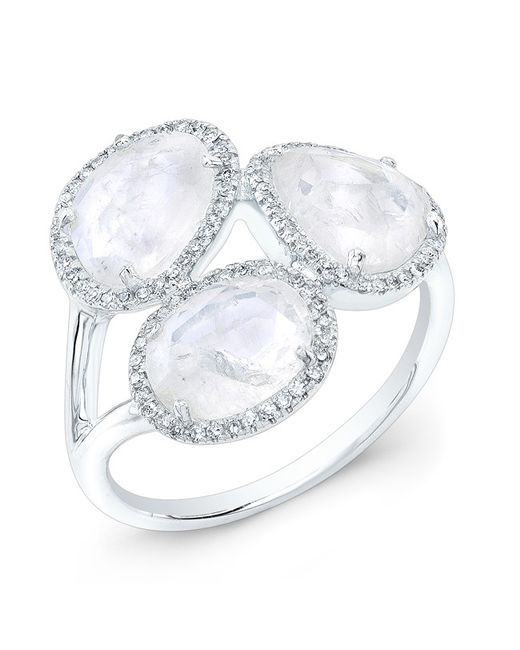 Anne Sisteron | Metallic 14kt White Gold Moonstone Diamond Trinity Ring | Lyst
