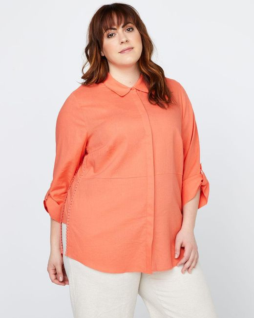 Addition Elle - Orange Linen Blouse - In Every Story - Lyst