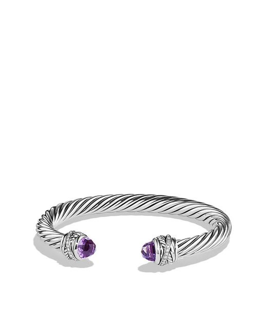 David Yurman | Purple Cable Classic Crossover Bracelet With Amethyst And Diamonds, 7mm | Lyst