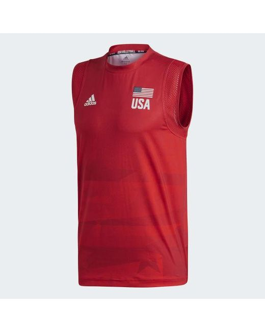 adidas Synthetic Usa Volleyball Primeblue Jersey in Red for Men - Lyst