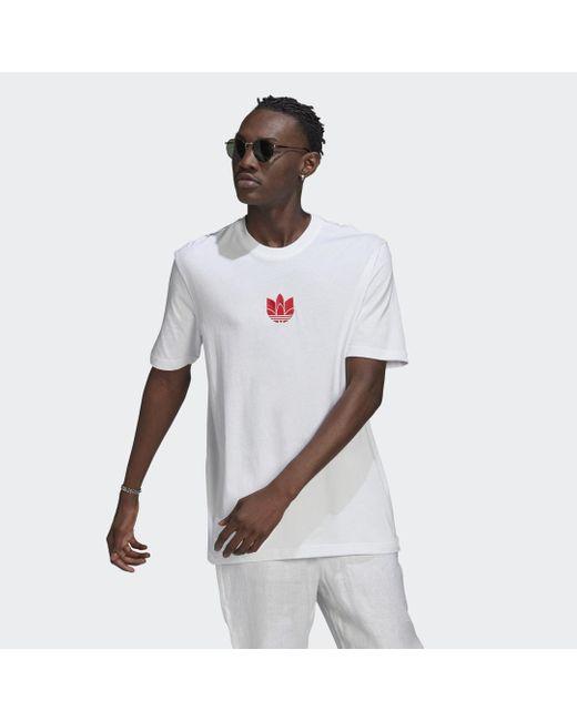 Adidas Loungewear Adicolor 3d Trefoil T-shirt in het White voor heren