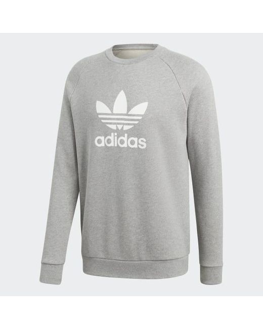 adidas Cotton Trefoil Warm up Crew Sweatshirt in Grey (Gray