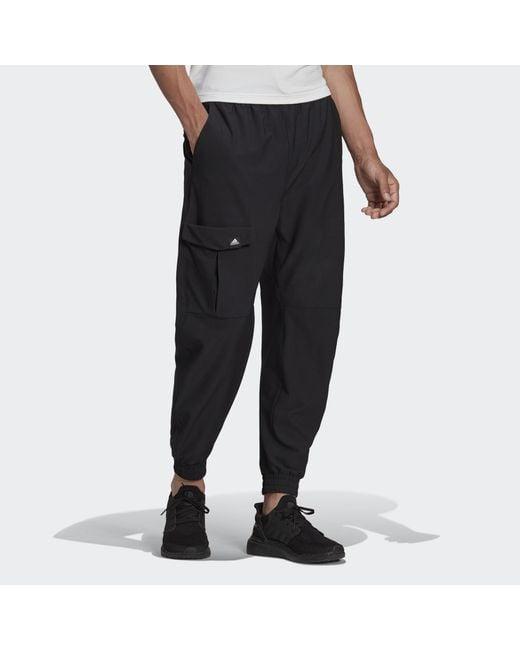 Adidas Black Sportswear Cargo Twill Trousers for men