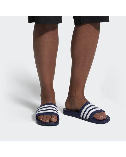 d7bf98479ba8 ... Adidas - Blue Adilette Cloudfoam Plus Stripes Slides - Lyst ...
