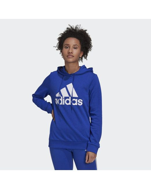 Felpa con cappuccio Essentials Relaxed Logo di Adidas in Blue