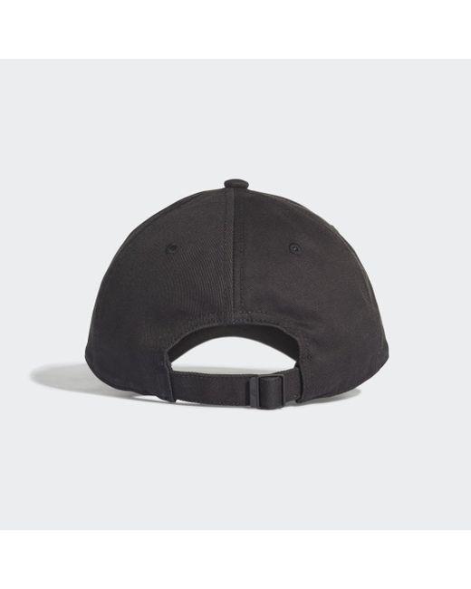 Adidas Black Six-Panel Classic 3-Streifen Kappe