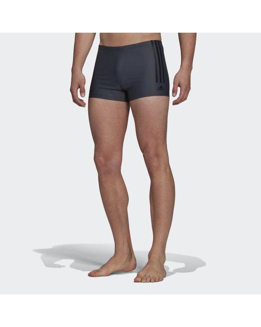 Adidas Gray Semi 3-stripes Swim Briefs for men