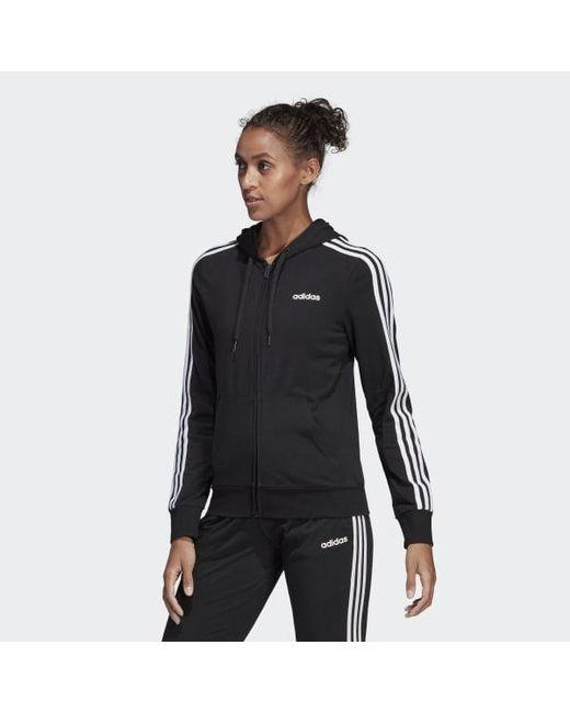 adidas 3 stripes hoodie black