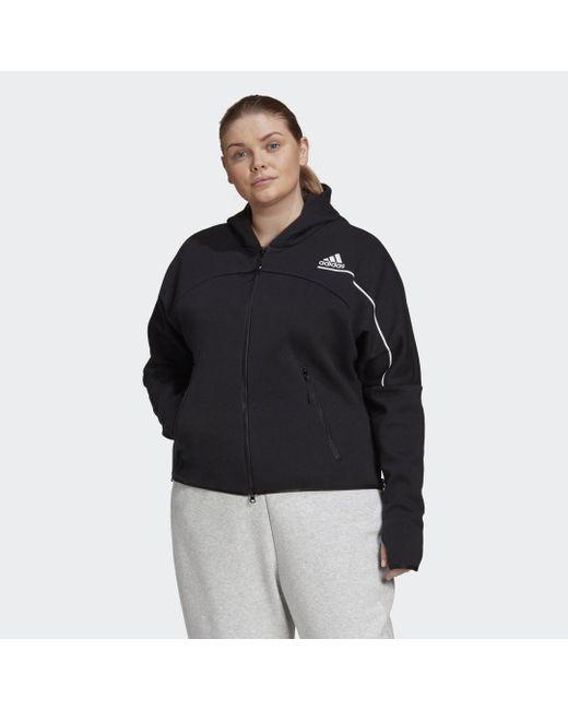 Hoodie Z.N.E. (Taglie forti) di Adidas in Black