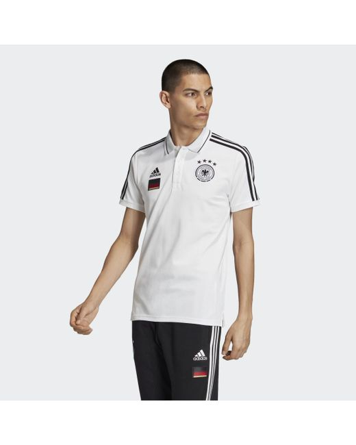 Adidas DFB 3-Streifen Poloshirt in White für Herren