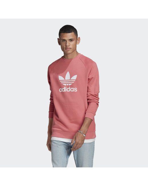 Adidas Pink Trefoil Warm-up Crew Sweatshirt for men