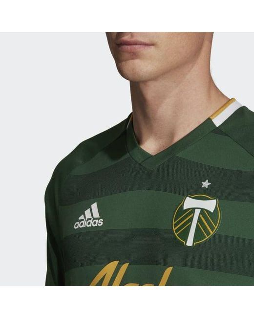 hot sale online a383a 3c1ca Men's Green Portland Timbers Home Authentic Jersey