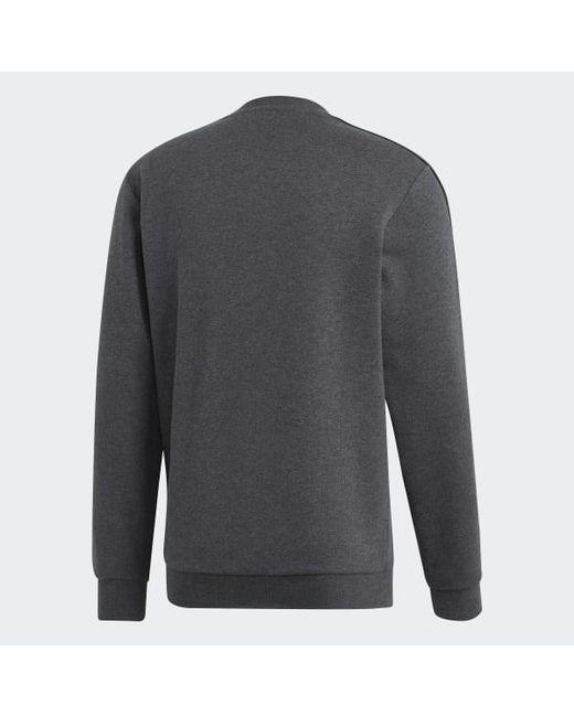 adidas Cotton Essentials 3 stripes Sweatshirt in Grey (Gray
