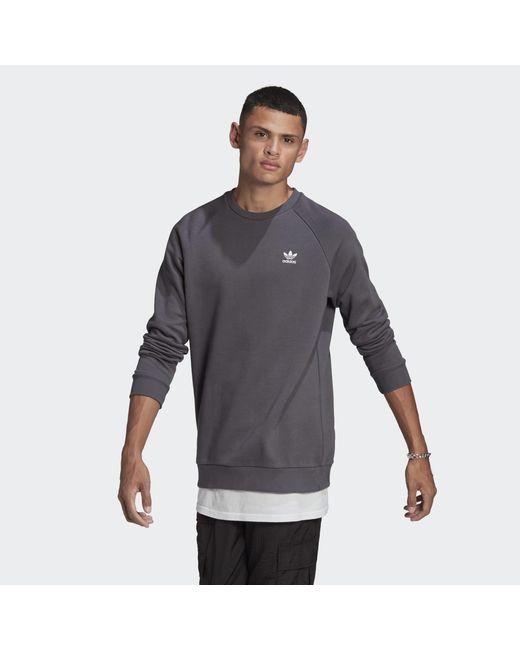 Adidas Gray Loungewear Trefoil Essentials Crewneck Sweatshirt for men