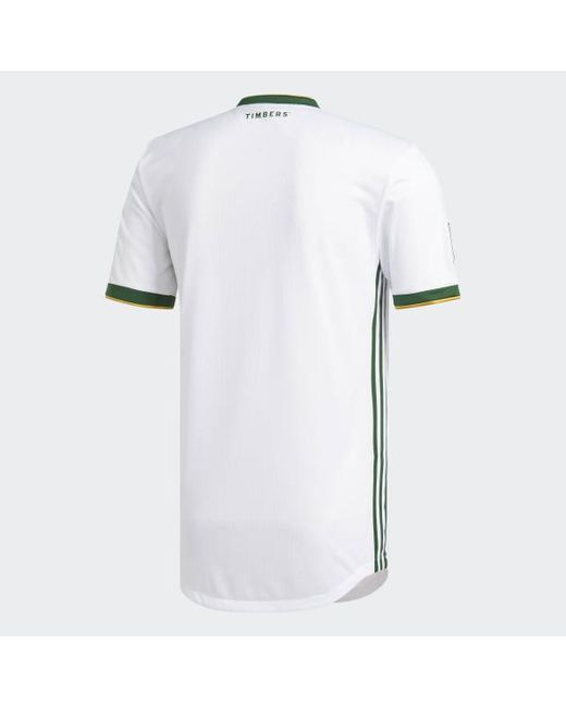 new product ea038 1bf8c Men's White Portland Timbers Away Authentic Jersey