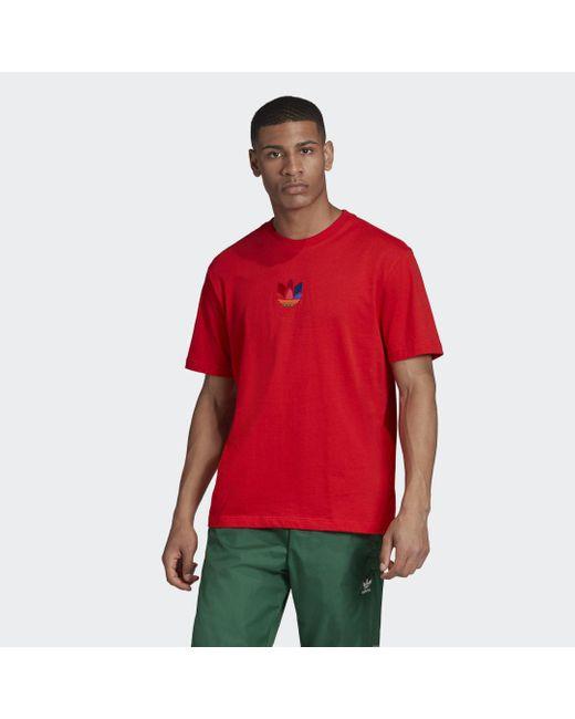 Adidas 3d Trefoil Graphic T-shirt in het Red voor heren