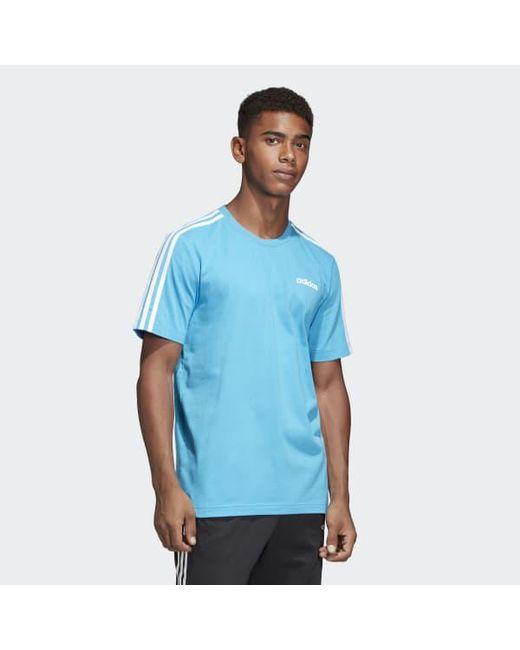 82a65e436d1a ... Adidas - Blue Essentials 3-stripes Tee for Men - Lyst ...