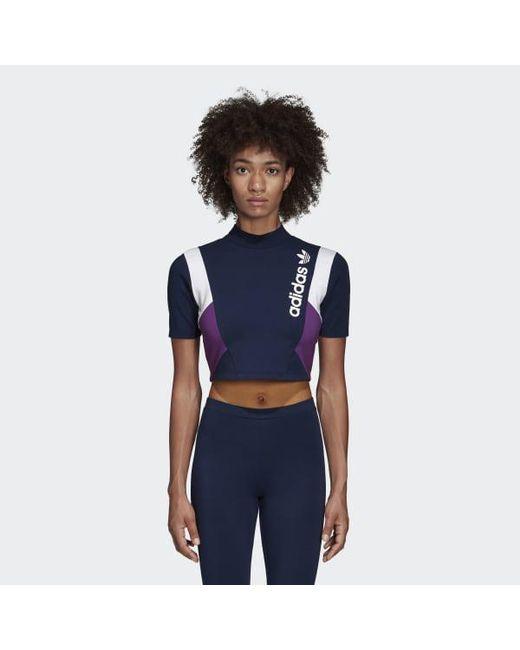 Adidas - Blue Cropped Tee - Lyst ... adde5db5048