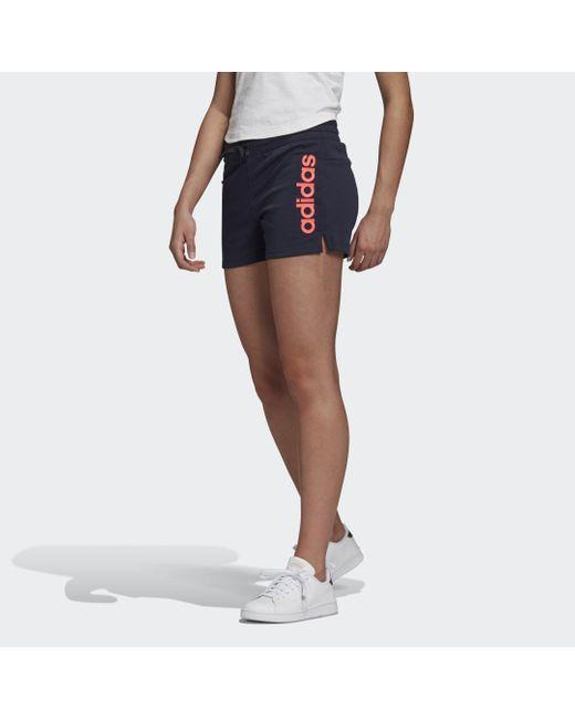 Adidas Blue Essentials Linear Logo Shorts