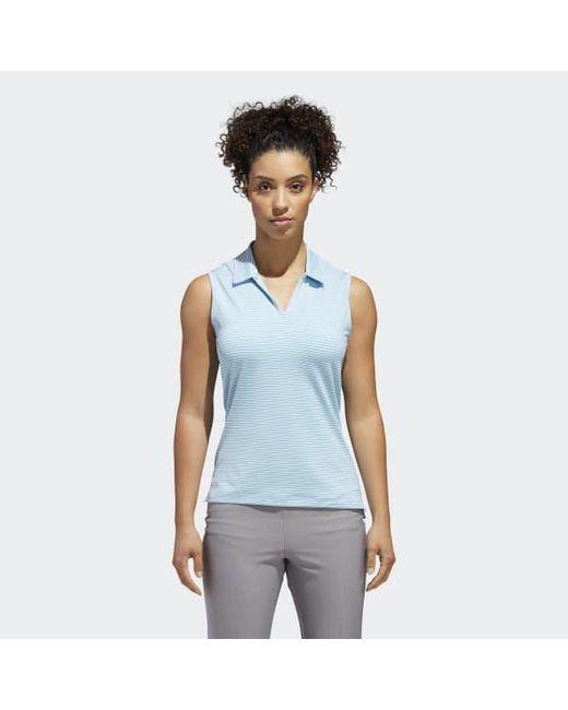 Adidas - Blue Ultimate365 Stripe Sleeveless Polo Shirt - Lyst