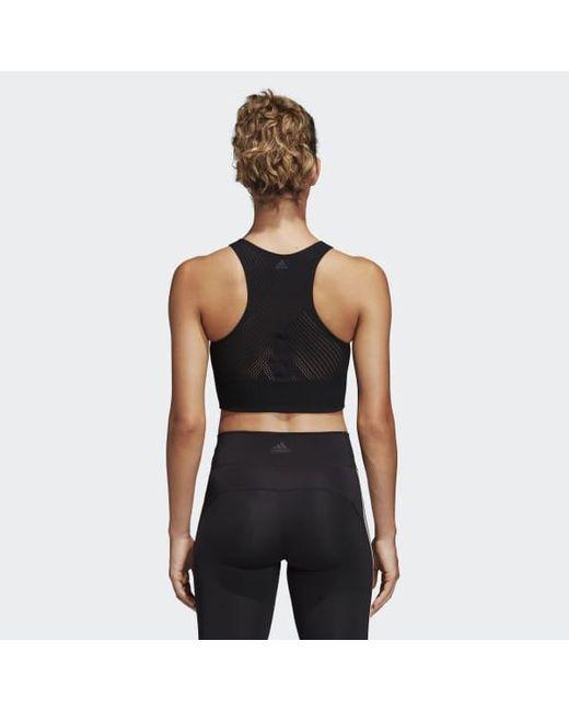 7824407adc Women's Black Warp Knit Crop Top