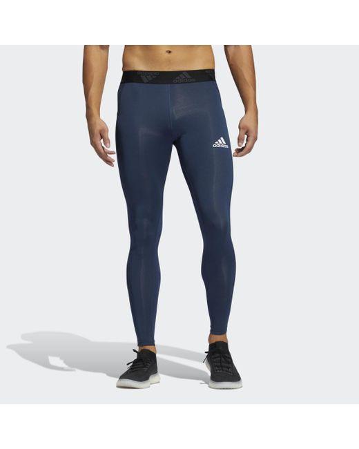 Adidas Techfit 3-stripes Lange Legging in het Blue voor heren